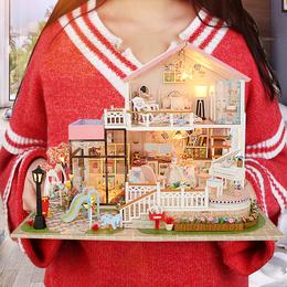 弘达diy小屋手工创意制作小房子模型拼装别墅玩具公主房生日礼物