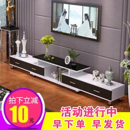云曼钢化玻璃伸缩电视柜茶几组合简约现代欧式小户型客厅电视机柜