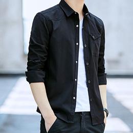 春秋男士长袖衬衫男短袖夏季衣服修身韩版潮商务休闲薄款衬衣男装