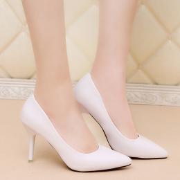 尖头高跟鞋女细跟学生新款单鞋黑色大码女鞋职业春季白色春秋防滑