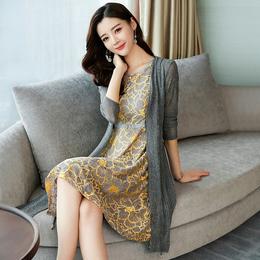 2018新款春装时髦套装潮秋装2017女装25-30岁蕾丝连衣裙夏天时尚