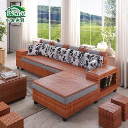 藤沙发组合三人现代转角大小户型藤编布艺沙发可拆洗客厅储物家具