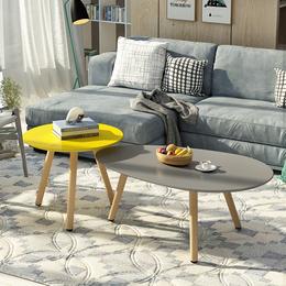 北欧小户型茶几客厅咖啡桌创意烤漆简约现代圆形组合实木小茶几
