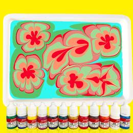 水拓画颜料套装浮水画水影画工具儿童颜料环保画画涂鸦湿拓画
