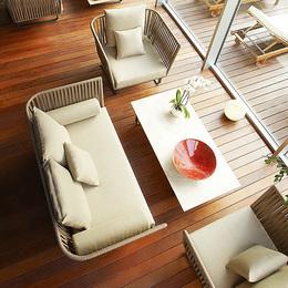 户外藤沙发茶几组合藤编沙发阳台桌椅藤椅三件套庭院露天休闲家具