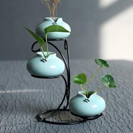 花器龙泉青瓷现代简约家居客厅装饰摆件工艺品小清新创意陶瓷花瓶