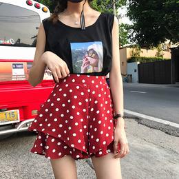 韩版百搭波点高腰半身裙裤怪味少女裤子荷叶边休闲阔腿短裤女学生