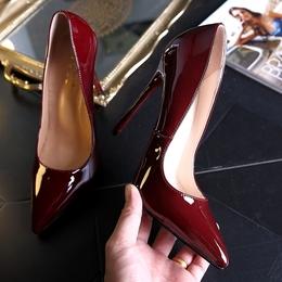 时尚酒红色12cm超高跟鞋女细跟10CM尖头浅口黑色漆皮OL女鞋大码鞋