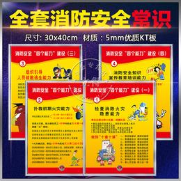 消防安全四个能力标识牌墙贴警示牌警告标志工厂车间宣传挂图海报