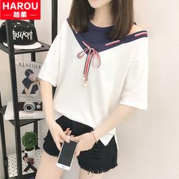 少女2018新款初中高中学生夏装露肩上衣服 韩版宽松百搭短袖T恤衫