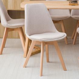 北欧家用伊姆斯椅现代简约实木书桌椅休闲靠背椅布艺餐椅洽谈椅子