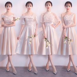 伴娘服2018新款韩版修身姐妹团婚礼中长款连衣裙子香槟色伴娘礼服