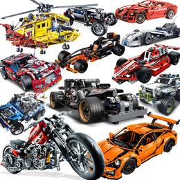 兼容乐高得高积木拼装城市系列回力汽车模型科技赛车男孩子玩具