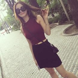 夏装外穿短款高腰露脐针织背心上衣女纯色紧身外穿无袖打底线衣潮