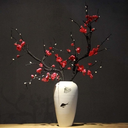 新中式陶瓷禅意梅花瓶摆件客厅玄关电视柜酒柜干花花器家居装饰品