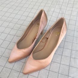 外贸大码高跟鞋女细跟新款尖头8厘米女鞋裸色简约伴娘宴会单鞋潮