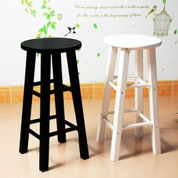吧凳木实木凳复古木头吧台椅 复古酒吧凳餐厅圆凳 高脚凳梯凳板凳