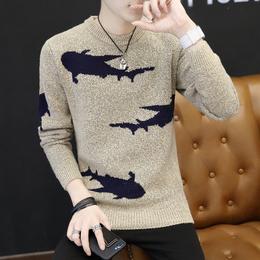 冬季韩版加厚圆领毛衣男修身个性毛衫潮男装打底套头针织衫外套
