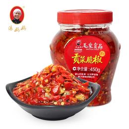 汤妈妈湖南特产剁椒辣椒酱下饭菜农家自制毛家食品贡菜脆椒450g