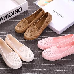 夏季浅口平底塑料凉鞋女护士工作鞋包头沙滩豆豆鸟巢镂空洞洞套鞋