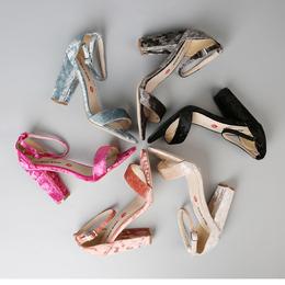 新款百搭气质一字带外贸女鞋超大码42 43  44码凉鞋女高跟鞋粗跟