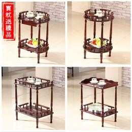 实木移动双层小圆茶几麻将桌机边角几茶水架置物架桌花架沙发边几