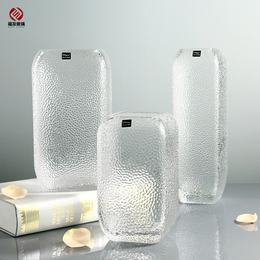 欧式矿石方形纹理透明玻璃花瓶 办公室客厅工艺品摆件  插花花瓶