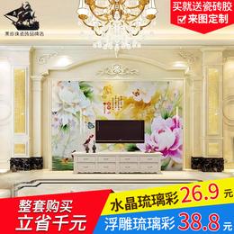电视背景墙瓷砖客厅微晶石现代简约仿大理石材装饰造型边框罗马柱