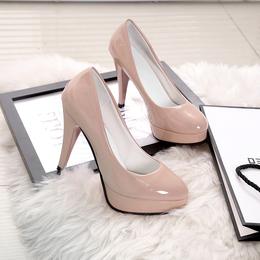 高跟鞋女 细跟10cm韩版圆头性感防水台女单鞋浅口套脚女鞋漆皮鞋
