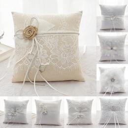 新款品质戒枕婚礼道具西式创意结婚婚庆用品对戒精细绣边戒指戒枕