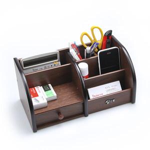 多功能实木质组合笔筒创意笔座<span class=H>笔插</span>笔架办公室摆件收纳盒<span class=H>老板</span>台用