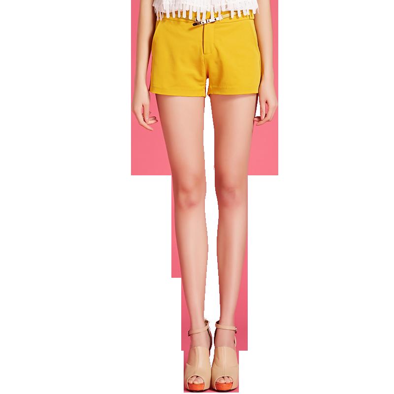 艾尚雪春夏季新款韩版时尚休闲百搭修身显瘦糖果色女装短裤56057