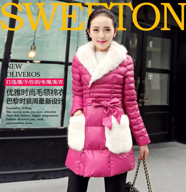 韩版中长款PU皮棉衣拼皮草女 2015年秋冬时尚新款加厚保暖配腰带