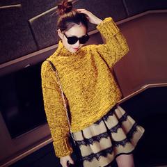 高领毛衣女冬加厚短款韩国女士冬款麻花粗线龄韩版套头学生打底衫