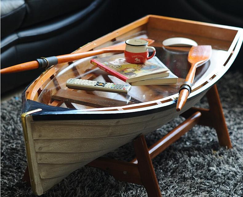 包邮特价美式乡村地中海田园实木桌欧式客厅简约钢化玻璃船型茶几
