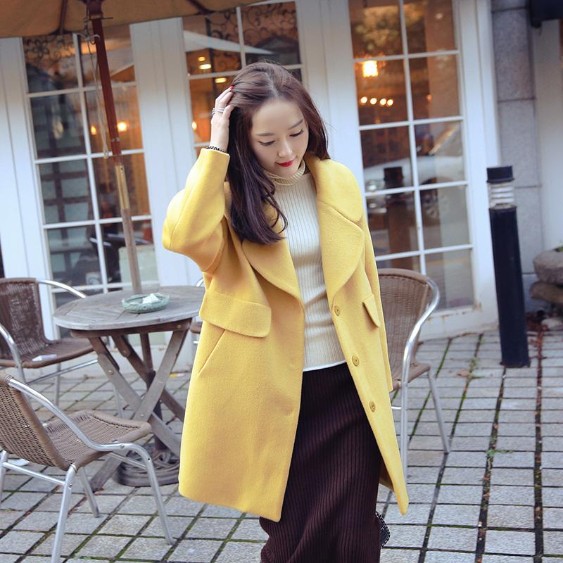 纯色时尚翻领毛呢大衣