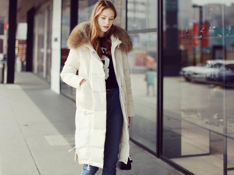 韩版羽绒服女中长款加厚2015新款韩国修身貉子毛领大码过膝羽绒衣