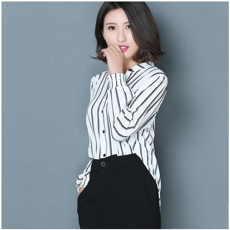 欣情静苑春装新款雪纺打底衫女韩版修身长袖纽扣半开领黑白条纹