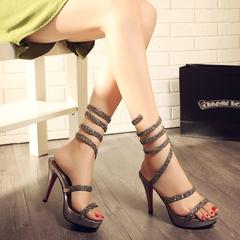 走秀款女夏凉鞋蛇形缠绕绑带水钻高跟凉靴罗马细跟性感时尚女鞋子