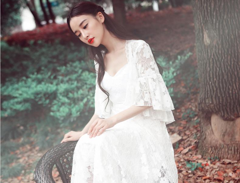 花间裳 原创蕾丝镂空气质淑女吊带连衣裙仙夏新款 长裙 套装裙