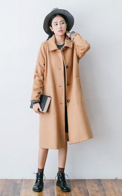 长款呢驼色大衣外套,很有气场的驼色大衣,搭配纯色圆领套头针织毛衣 ,百搭耐看、帅气精神,秋冬季节必备。