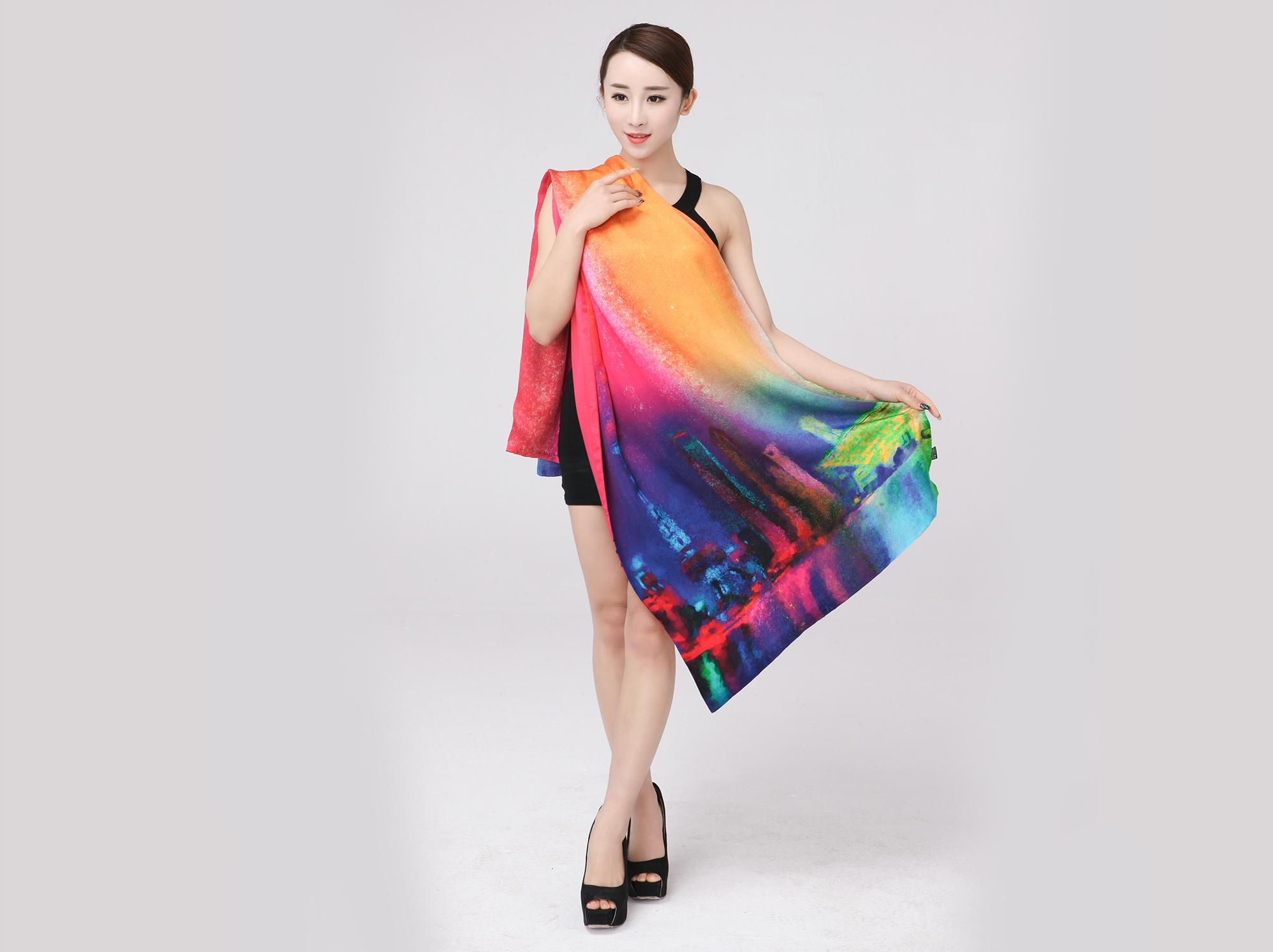 上海风情春秋夏百变多用双层带扣围巾披肩重磅桑蚕丝真丝空调长巾