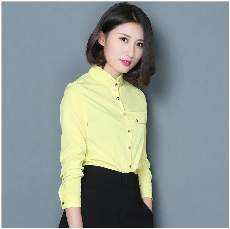 2016春装新款修身长袖衬衫纽扣半高领衬衫女 韩范百塔雪纺打底衫