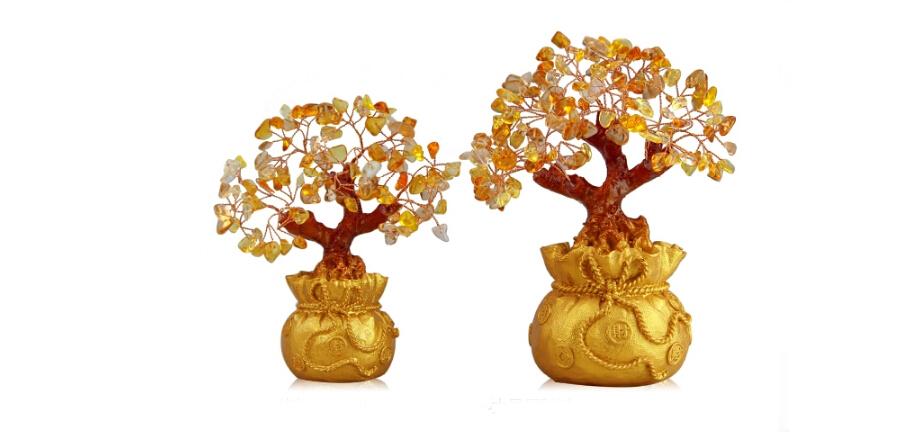 铜欣祥黄水晶招财树摇钱树创意家居装饰品客厅办公室电视柜小摆件