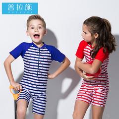 普拉施 中大童儿童泳衣女孩男童可爱韩国公主连体宝宝儿童游泳衣