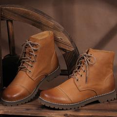 2015新款手工鞋真皮短靴女头层牛皮系带擦色休闲平跟女靴潮