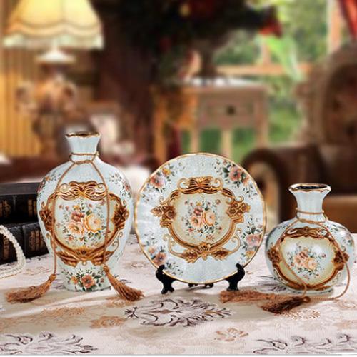 欧式复古家居装饰品陶瓷花瓶三件套摆件工艺品客厅