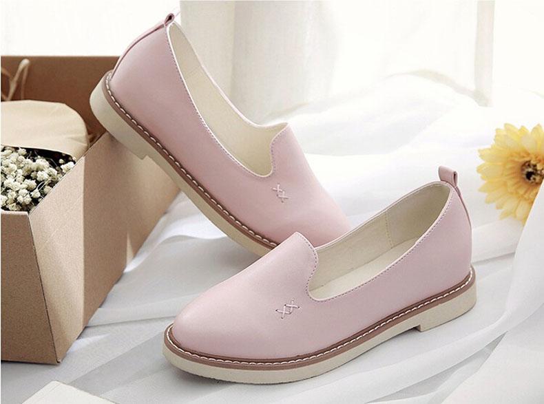 夏季女士英伦休闲小皮鞋透气平底懒人鞋一脚蹬单鞋子韩版乐福鞋女