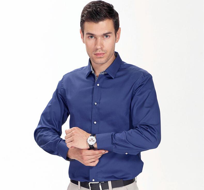 棠吉男衬衫长袖 丝光棉纯色商务休闲款 时尚男装修身青年衬衣