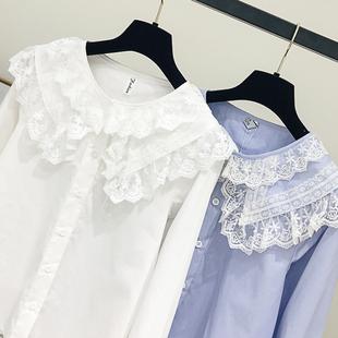 26衬衫女2019春装新款韩版长袖宽松蕾丝娃娃领蕾丝衬衣娃娃衫上衣